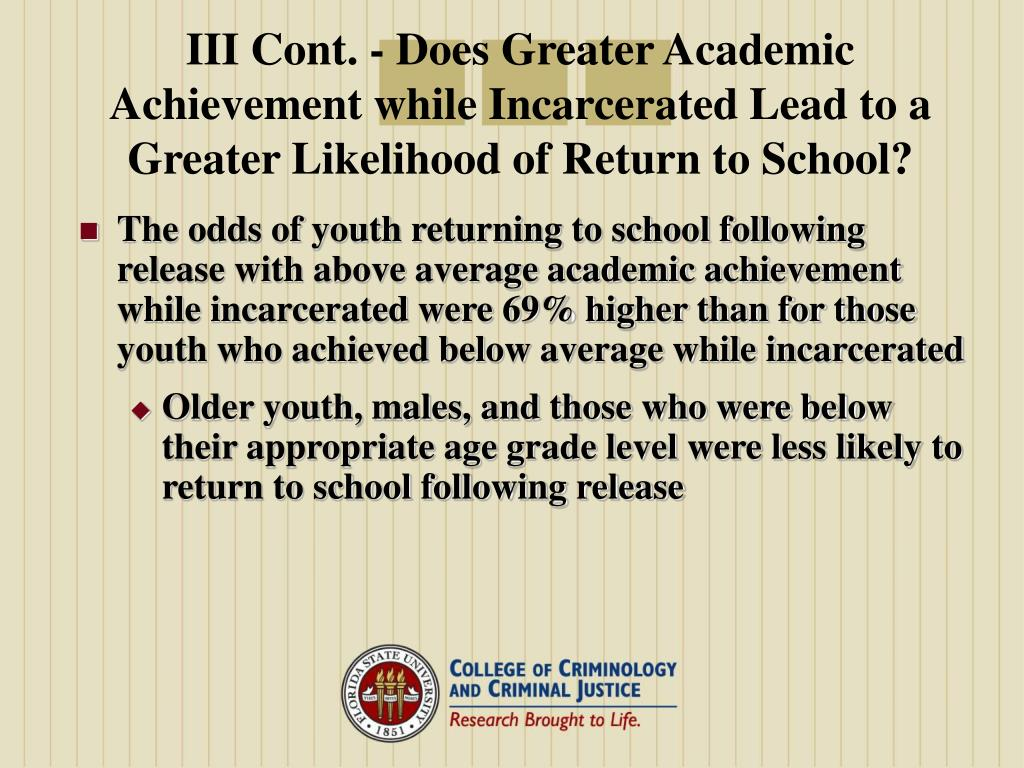 III Cont. - Does Greater Academic Achievement while Incarcerated Lead to a Greater Likelihood of Return to School?