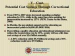 v cont potential cost savings through correctional education