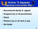 article 15 appeals imposing commander may