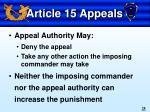 article 15 appeals