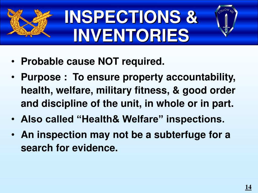 INSPECTIONS & INVENTORIES