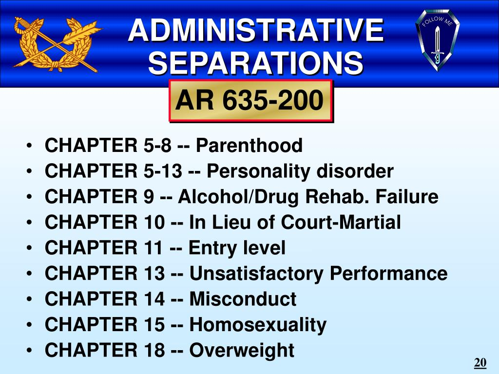 ADMINISTRATIVE SEPARATIONS