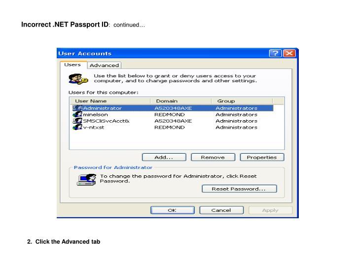 Incorrect .NET Passport ID