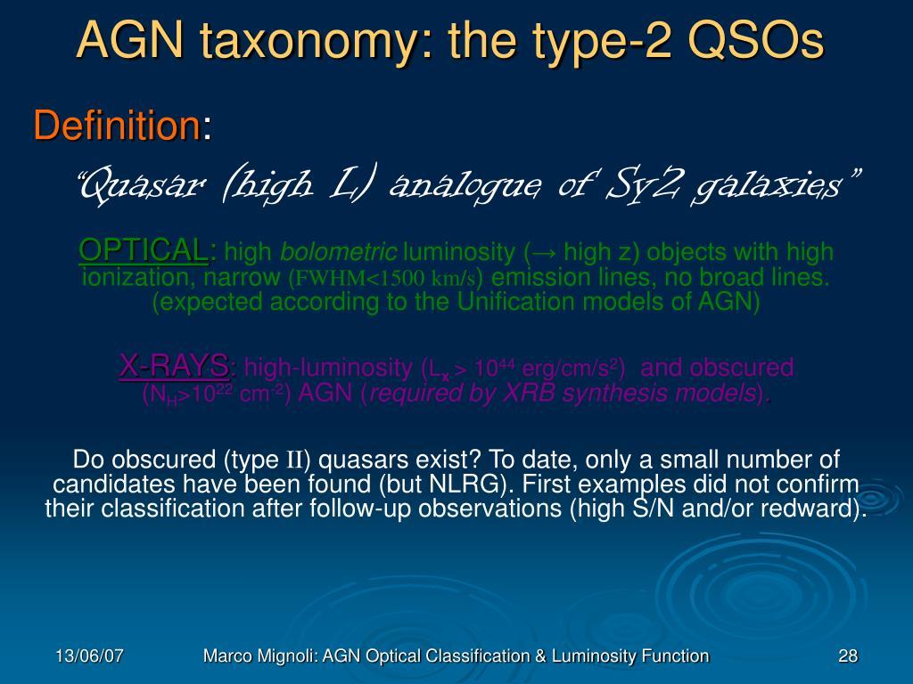AGN taxonomy: