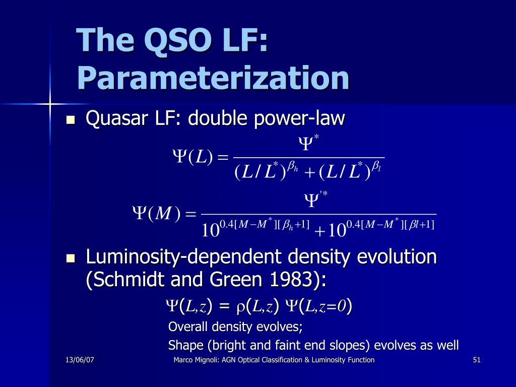 The QSO LF: Parameterization