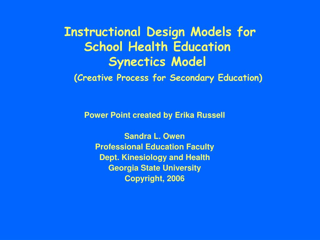 Instructional Design Models for