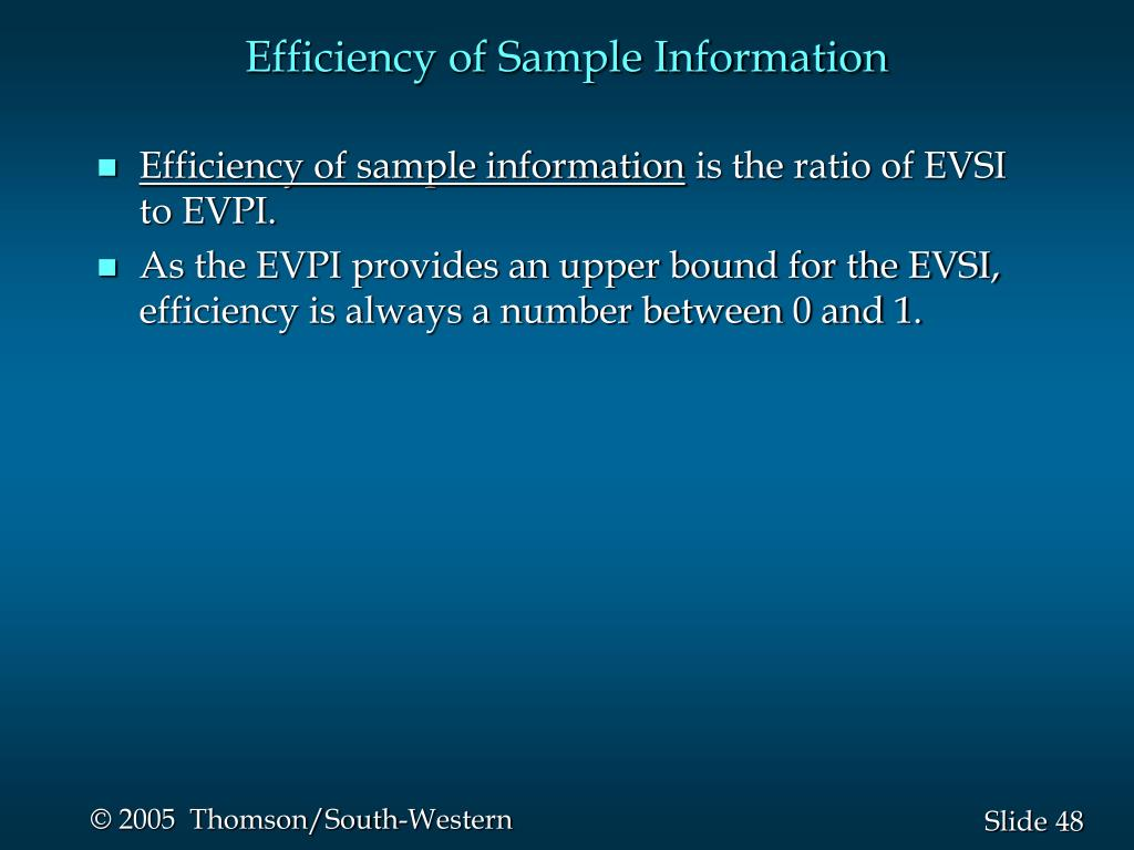 Efficiency of Sample Information