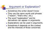 argument or explanation