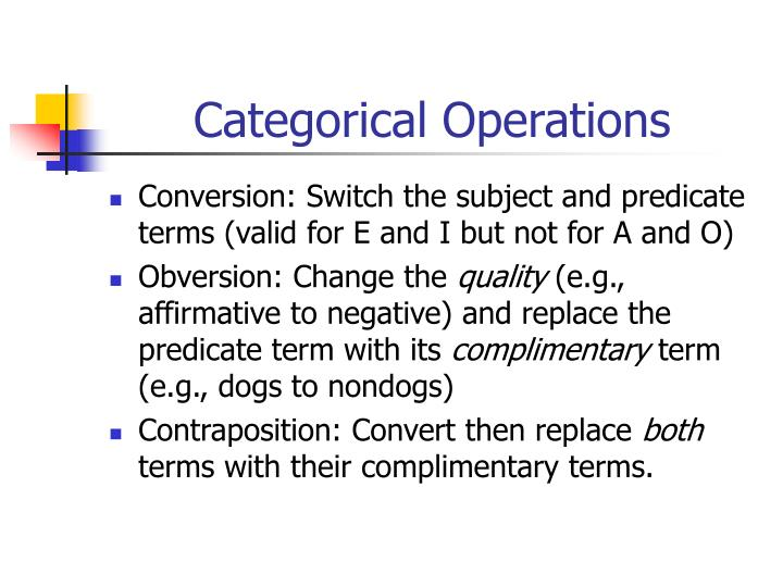 Categorical Operations