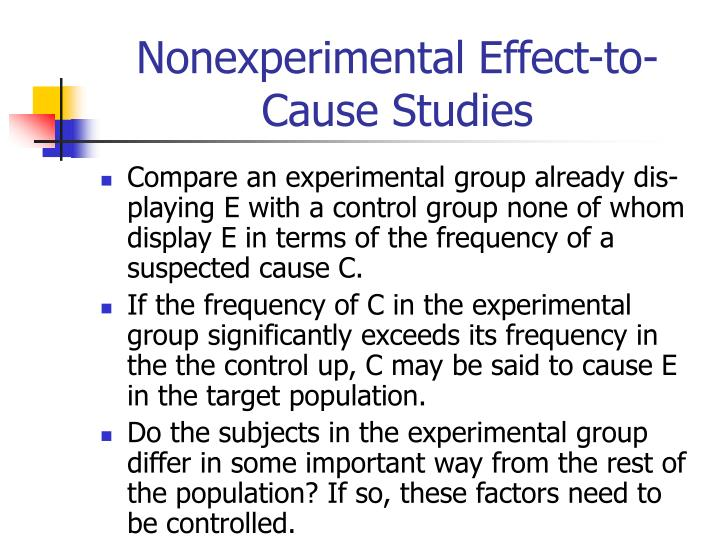 Nonexperimental Effect-to-Cause Studies