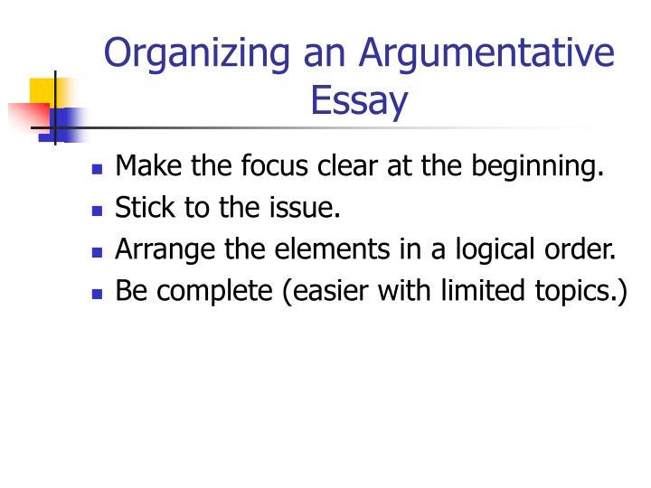 Organizing an Argumentative Essay