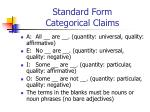 standard form categorical claims