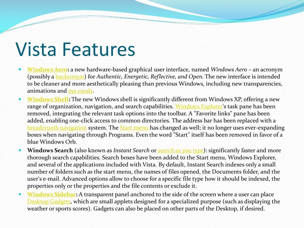 Vista Features