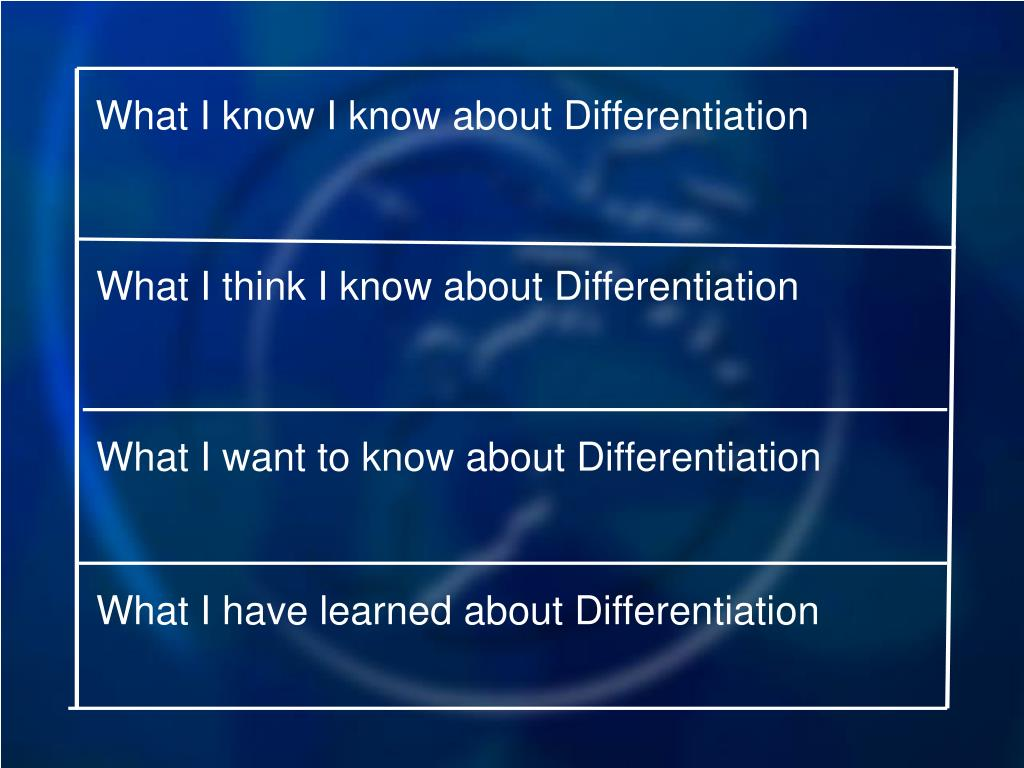 What I know I know about Differentiation