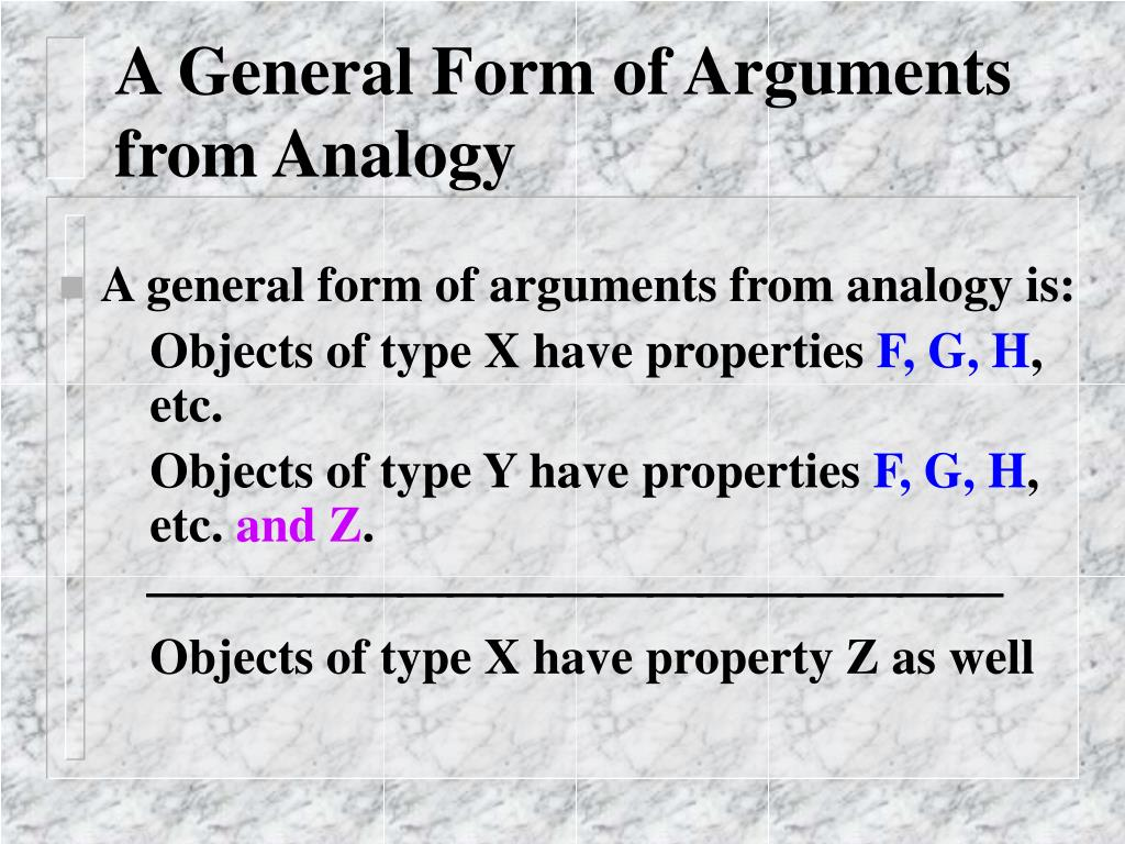 A General Form of Arguments from Analogy