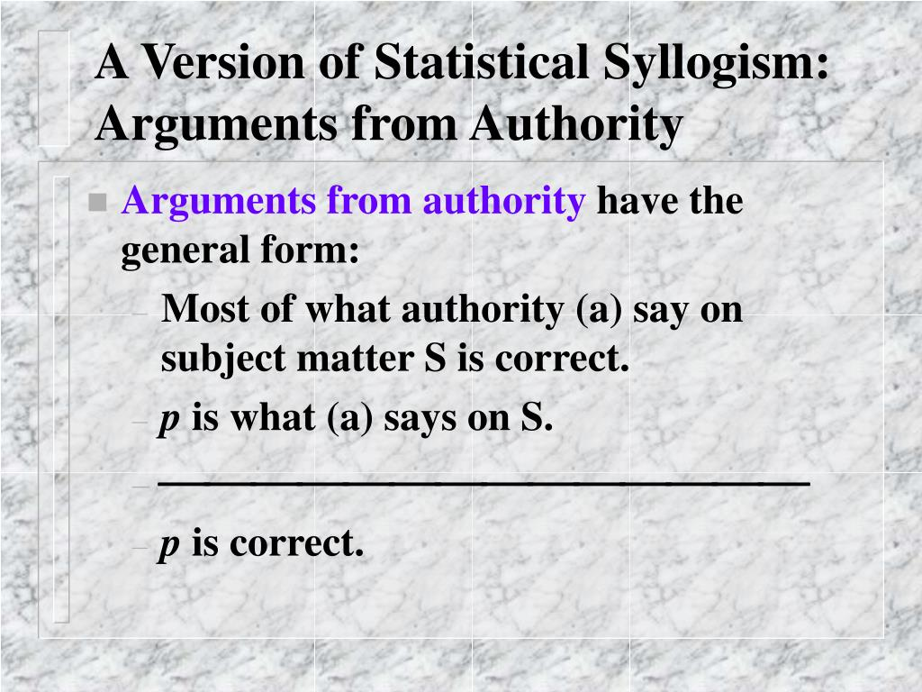 A Version of Statistical Syllogism: Arguments from Authority