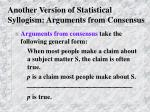 another version of statistical syllogism arguments from consensus