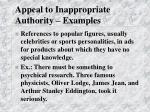 appeal to inappropriate authority examples