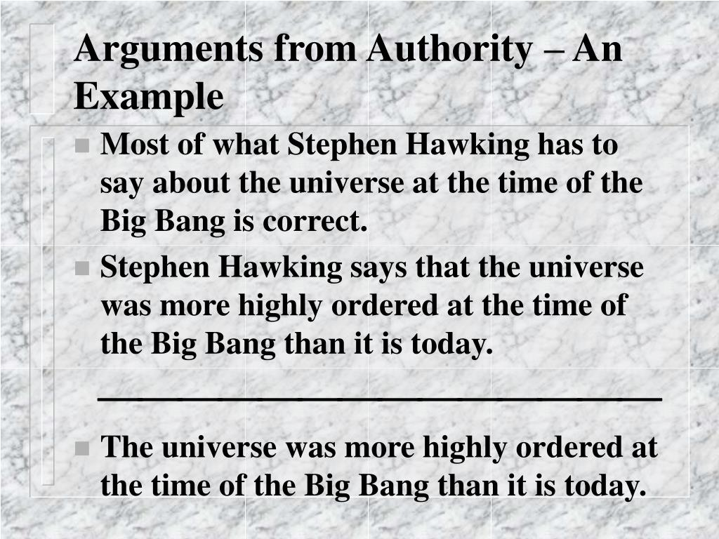 Arguments from Authority – An Example