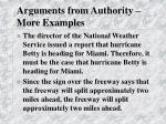 arguments from authority more examples