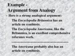 example argument from analogy