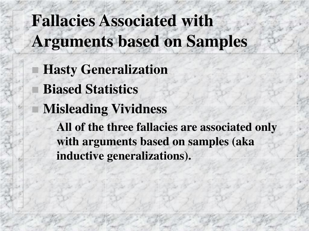 Fallacies Associated with Arguments based on Samples