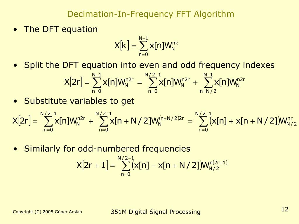 Decimation-In-Frequency FFT Algorithm