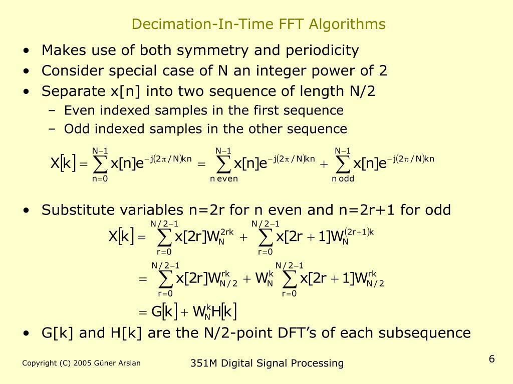 Decimation-In-Time FFT Algorithms
