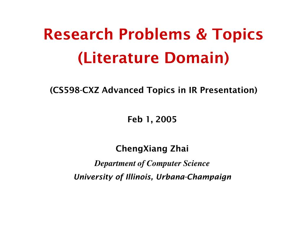 Research Problems & Topics