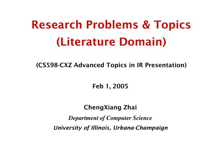 Research problems topics literature domain