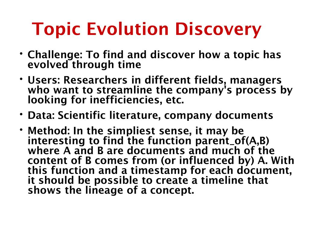 Topic Evolution Discovery