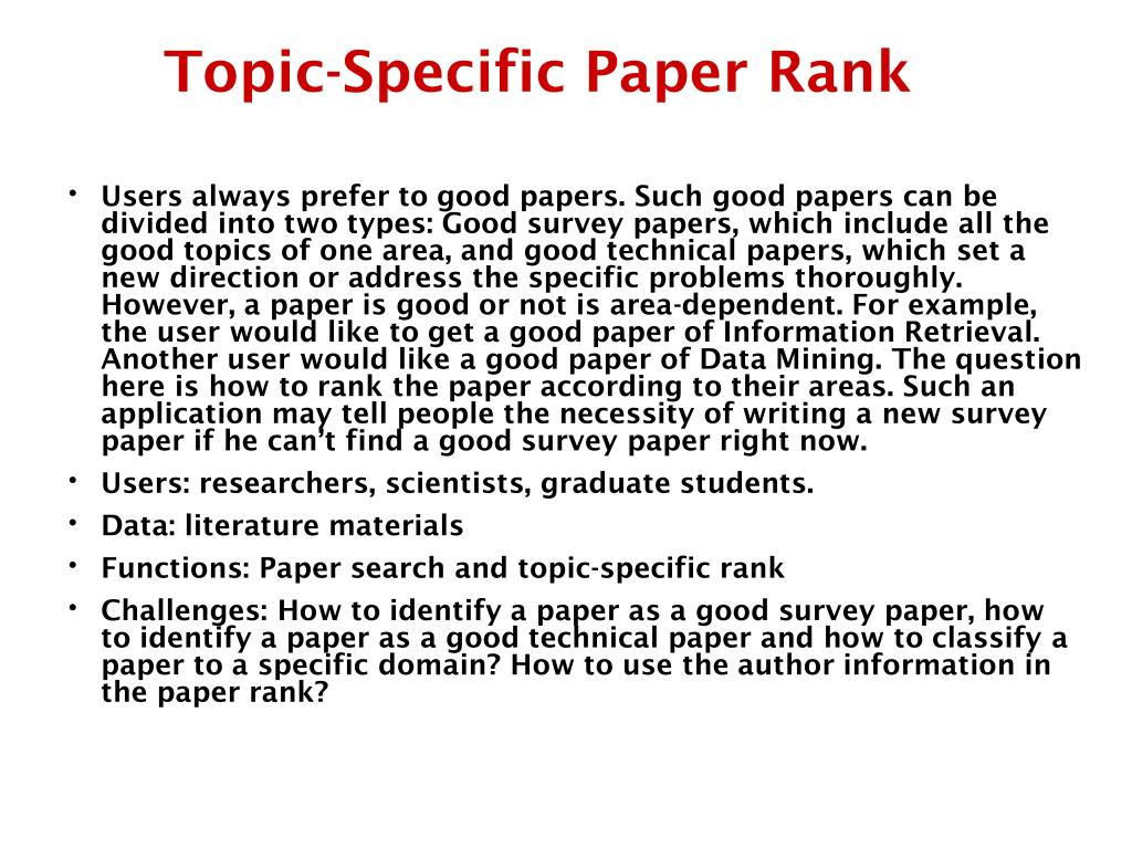 Topic-Specific Paper Rank