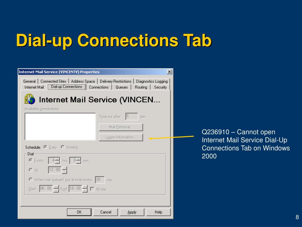 Dial-up Connections Tab