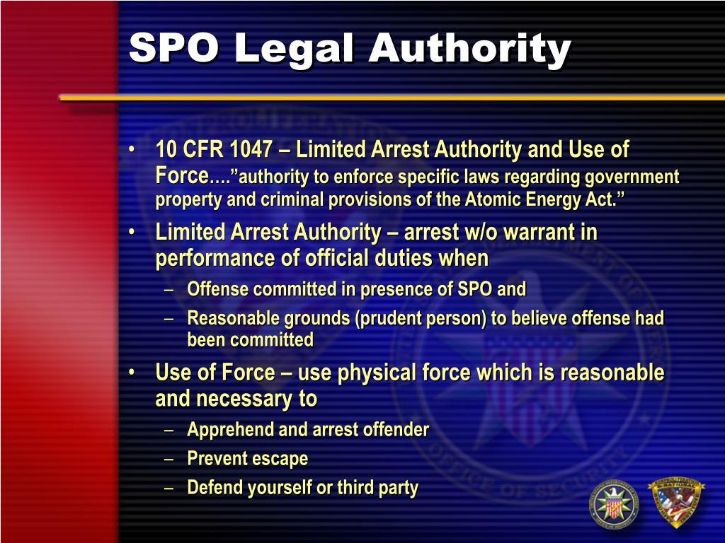 SPO Legal Authority