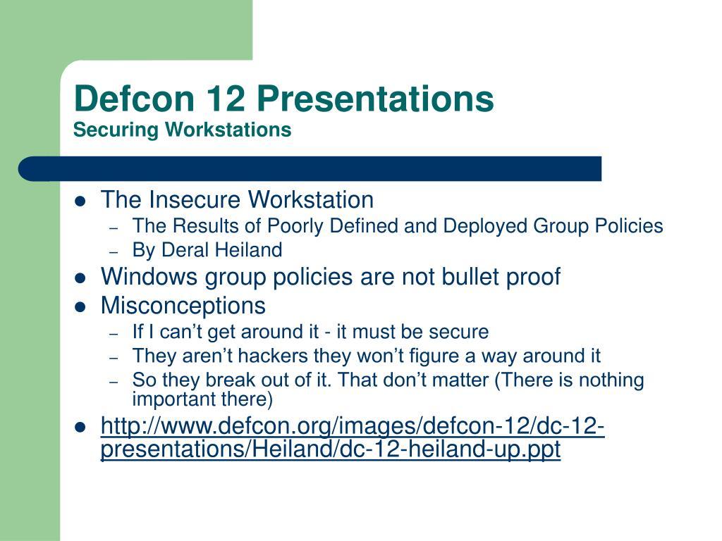 Defcon 12 Presentations