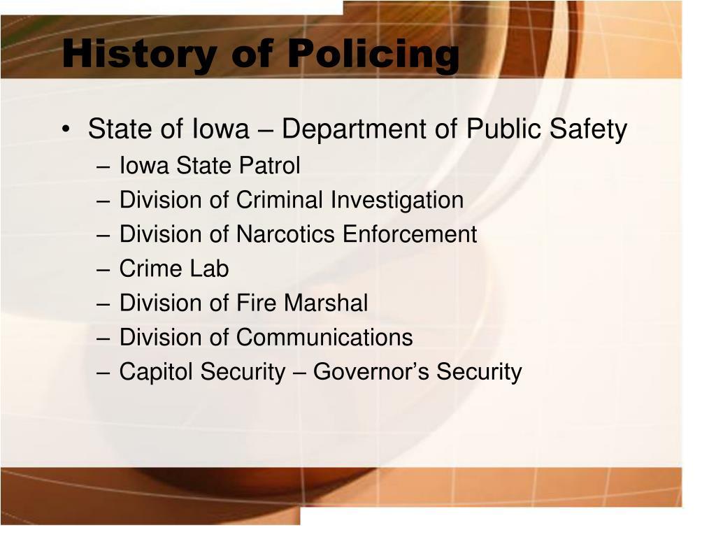 History of Policing