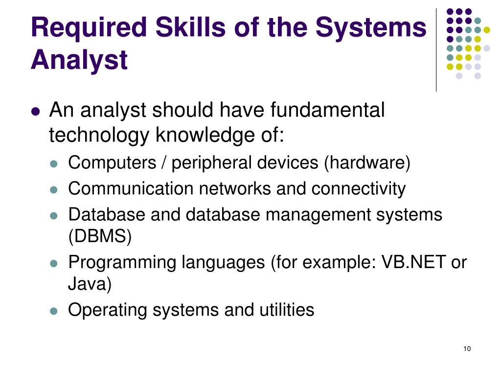 Required Skills of the Systems Analyst