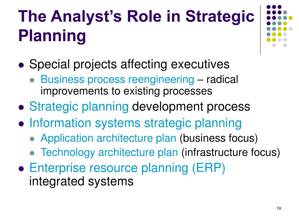 The Analyst's Role in Strategic Planning