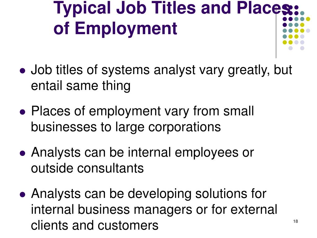 Typical Job Titles and Places of Employment