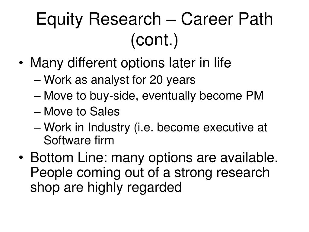 Equity Research – Career Path (cont.)