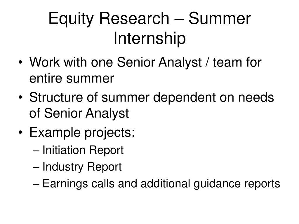Equity Research – Summer Internship