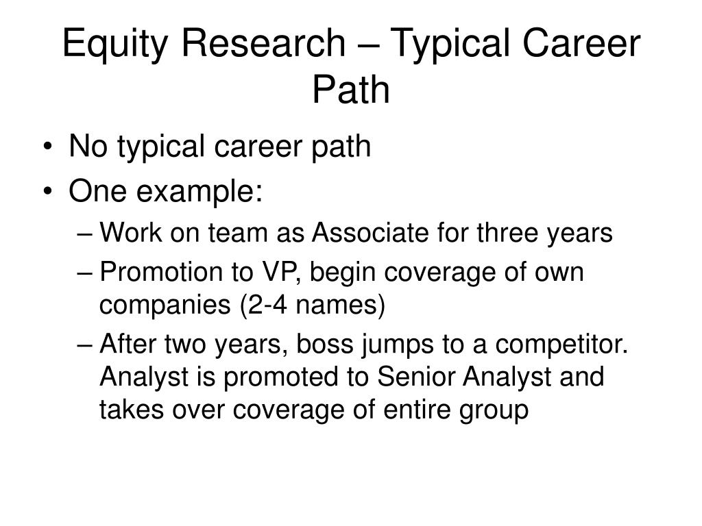 Equity Research – Typical Career Path