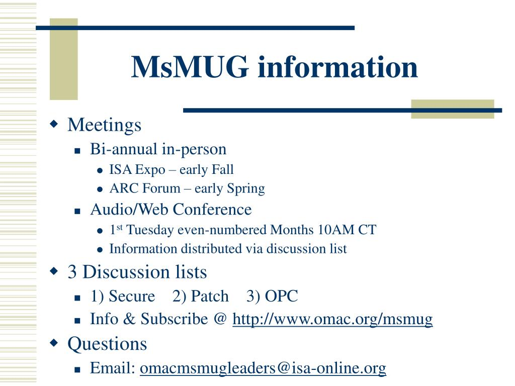 MsMUG information
