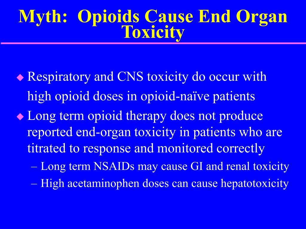 Myth:  Opioids Cause End Organ Toxicity