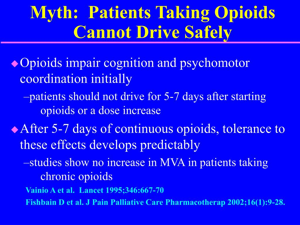 Myth:  Patients Taking Opioids Cannot Drive Safely