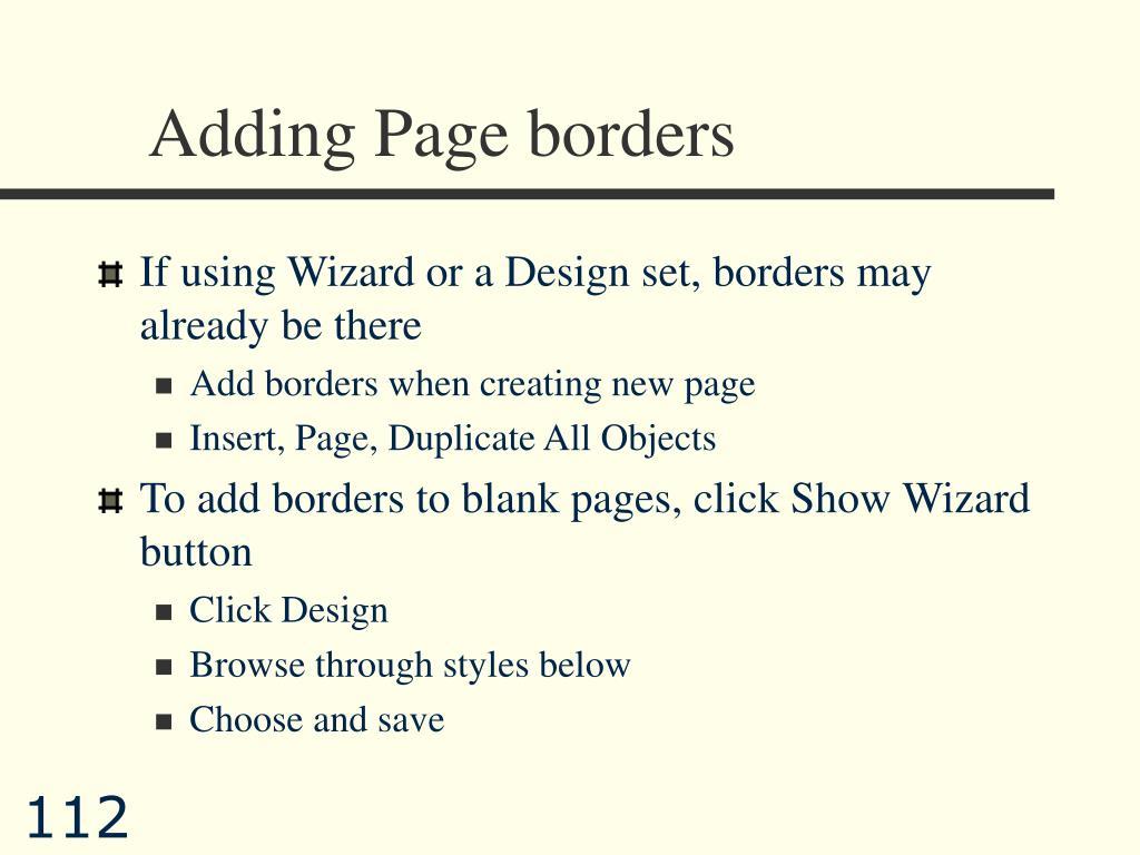 Adding Page borders