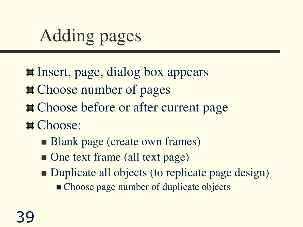 Adding pages