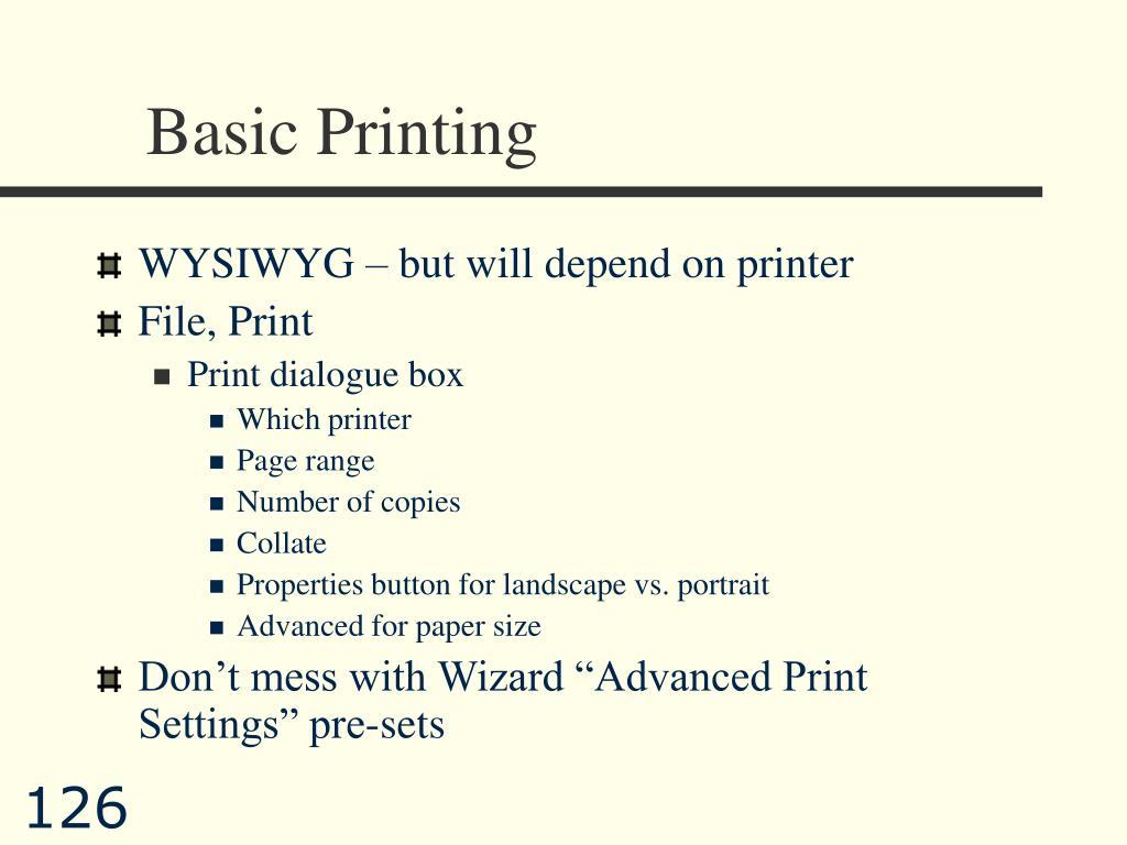 Basic Printing