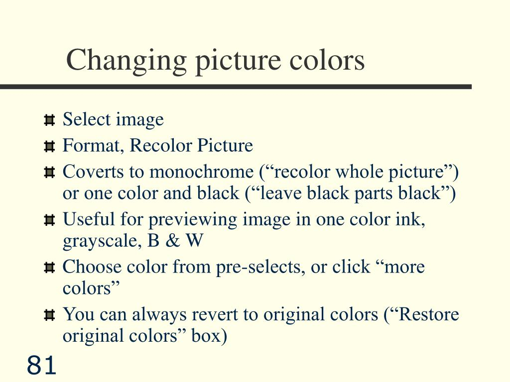 Changing picture colors
