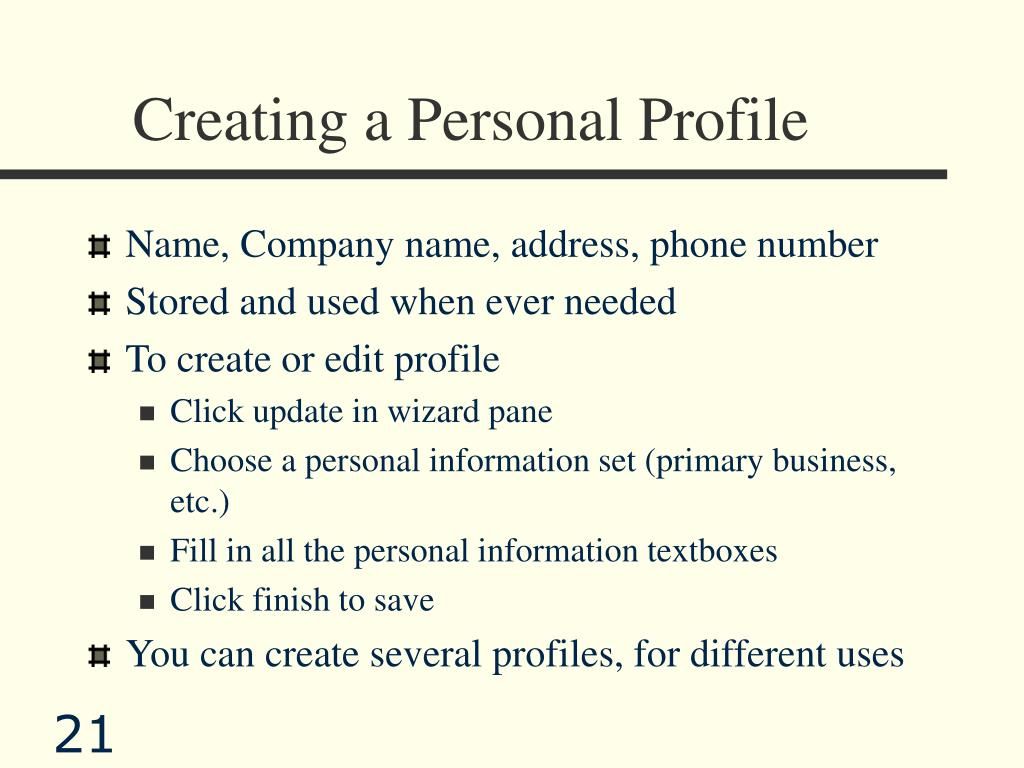 Creating a Personal Profile